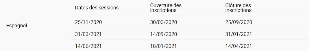 Calendrier 2020-2021 du dcl espagnol